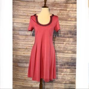 Tracy Negoshian Short Sleeve Dress Leilani Medium
